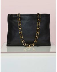 Chanel | Vintage Black Leather Tote | Lyst