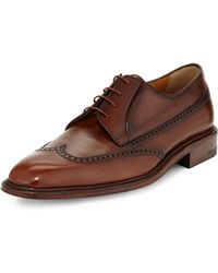 A.testoni Calfskin Lace-Up Wing-Tip Derby - Lyst