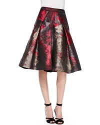 Carolina Herrera Flared Floral Skirt - Lyst