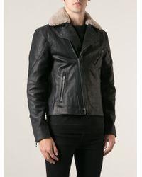 Rag & Bone Fur Collar Biker Jacket - Lyst