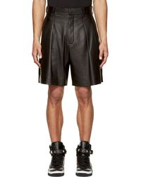 Givenchy Black Lamb Leather Pleated Shorts - Lyst