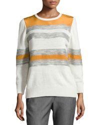 Halston Heritage Mixed Stripe Crewneck Combo Sweater white - Lyst