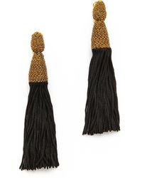 Oscar de la Renta Silk Tassel Clip Earrings Black - Lyst