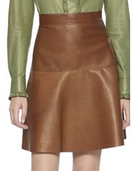 Gucci Leather Flare Skirt - Lyst