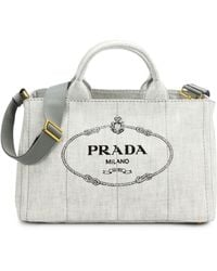 Prada Logoprinted Medium Denim Tote - Lyst