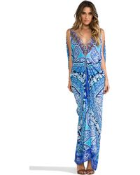 Camilla Mycenaean Long Drape Dress in Blue - Lyst