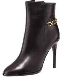 Diane von Furstenberg Beckett Leather Chain Bootie - Lyst
