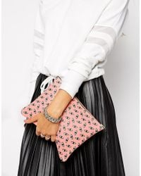 Falconwright - Leather Clutch in Pink Eye Print - Lyst