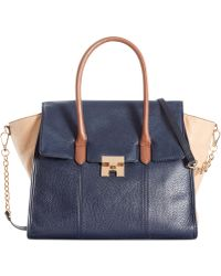 Tommy Hilfiger Th Turnlock Leather Colorblock Convertible Top Handle - Lyst