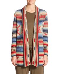 Polo Ralph Lauren Woven Open-Front Cardigan red - Lyst