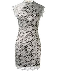 Lover Silver Flower Printed Lace Dress - Lyst