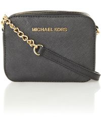 Michael Kors Jet Set Travel Black Small Chain Cross Body - Lyst