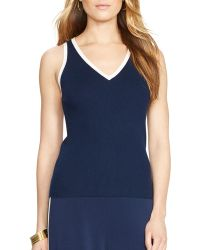 Ralph Lauren Lauren Sleeveless V Neck Sweater - Lyst