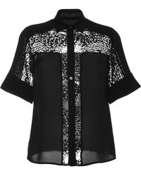 Elie Saab Black Double Silk Georgette and Lace Shirt - Lyst