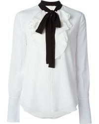 Chloé | Contrast Pussy Bow Ruffle Blouse | Lyst