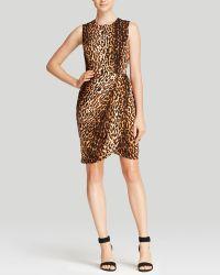 Shoshanna Silk-blend Leopard Print Dress - Lyst