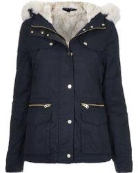 Topshop Womens Petite Faux Fur Trim Borg Lined Parka Jacket  Navy Blue - Lyst