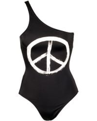 Kamali Kulture Black One Shoulder Mio with Peace Sign - Lyst