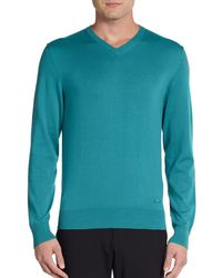 Armani V-neck Ribbed Sweater - Lyst