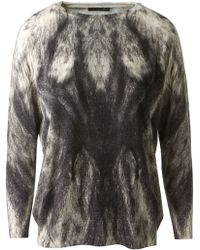 Alexander McQueen Grey Wool Animal Printed Pullover - Lyst