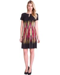 Tahari Petite Kelliann Pleated Abstract Print Dress - Lyst