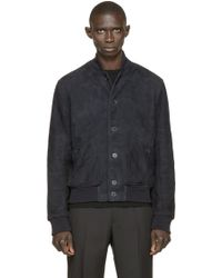 A. Sauvage - Navy Shearling Gosling Bomber - Lyst