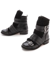 Iro Hoonah Shearling Flat Boots - Black - Lyst