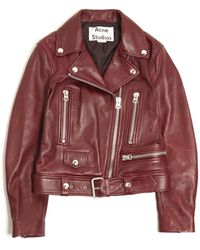 Acne Studios Mock Crop Leather Jacket red - Lyst