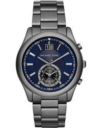 Michael Kors Aiden Gunmetal-Tone Stainless Steel Chronograph Bracelet Watch silver - Lyst