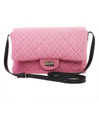 Chanel Pre-Owned Bright Pink Quilted Wool Tweed Xl Reissue Flap-Bag - Lyst