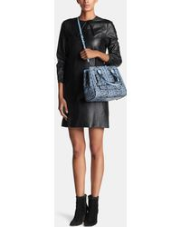 COACH | Swagger Frame Satchel In Colorblock Exotic Embossed Leather | Lyst
