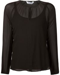 Max Mara Front Button Sheer Blouse - Lyst