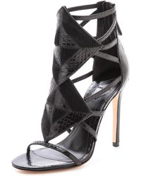 B Brian Atwood Luanna Caged Sandals Blackblack - Lyst