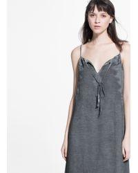 Mango | Embroidery Notched Dress | Lyst