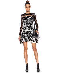 David Koma Flocked Contrast Underlayer Poly Dress - Lyst