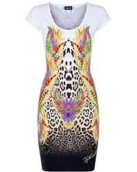 Just Cavalli Feather And Leopard Jersey Dress - Lyst