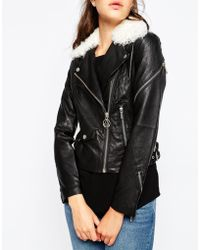 ELEVEN PARIS - Leather Jacket With Faux Shearling Collar - Lyst