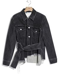 3.1 Phillip Lim | Destroyed And Repaired Belted Jacket With Wool Combo | Lyst