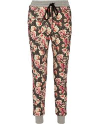 Markus Lupfer English Rose Printed Cottonterry Track Pants - Lyst