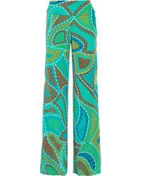Issa Printed Silk Wide-Leg Pants - Lyst