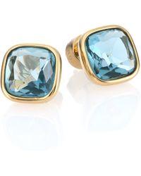 Michael Kors Brilliance Botanicals Cushion Stud Earrings/Goldtone blue - Lyst