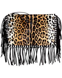 Valentino Haircalf Animal Print Fringe Clutch - Lyst