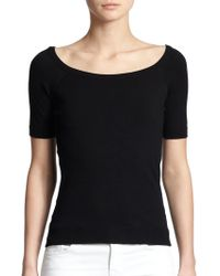 Milly Ballet-Neck Top black - Lyst