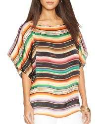 Ralph Lauren Lauren Silk Stripe Top - Lyst