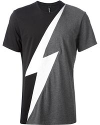 Neil Barrett Lightening Print Tshirt - Lyst