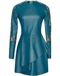 Elie Saab Leather And Lace Long Sleeve Dress - Lyst