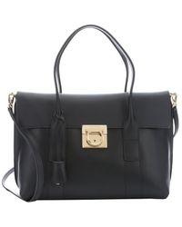 Ferragamo Black Leather 'Sookie' Medium Convertible Tote - Lyst
