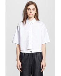 T By Alexander Wang Cotton Poplin Crop Shirt - Lyst