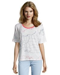 Alternative Apparel White States Stencil Poly Blend Knit 'Perfect' Boxy Tee white - Lyst