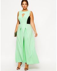 Asos Curve Exclusive Maxi Dress With Pleat Front And Cut Out - Lyst